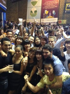 Although LKF is filled with clubs, many choose to party outside. Many exchange students enjoying the HK nightlife. Similar to Vegas, minus the pools, and bathing suits!