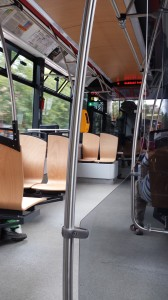 Inside a modern tram