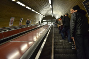 Escalators inside the stations can be really steep and fast