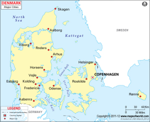 These are the major cities including the city of Aarhus, second largest city in the country, which I currently live in