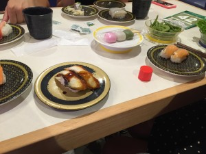 Conveyer belt sushi and food