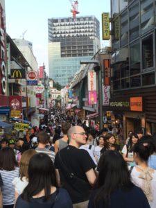 Preparing to enter the busy street, Takeshita-dori in Harajuku!