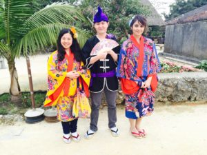 Wearing traditional clothing in Okinawa with friends